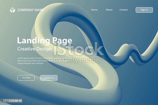 Landing page Template - Fluid Abstract Design on Blue gradient background