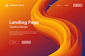 Landing page template for your website with a modern and trendy background. Abstract design with a fluid, liquid, 3d and gradient color shape. This illustration can be used for your design, with space for your text (colors used: Orange, Red, Brown, Purple, Blue). Vector Illustration (EPS10, well layered and grouped), wide format (3:2). Easy to edit, manipulate, resize or colorize.
