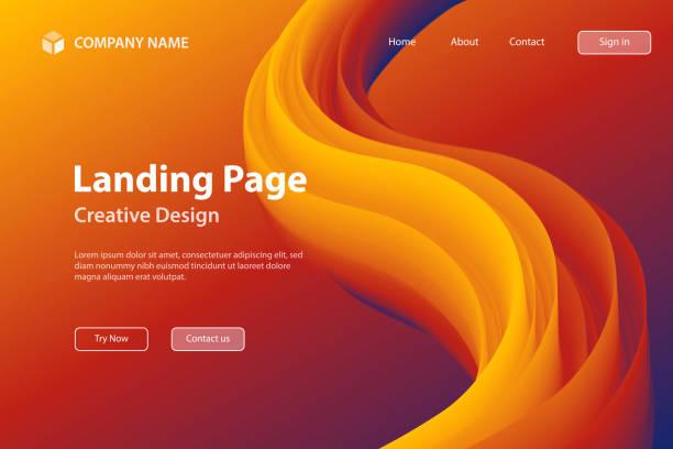 Landing page Template - Fluid Abstract Design on Orange gradient background vector art illustration
