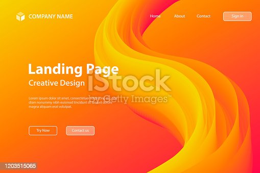 istock Landing page Template - Fluid Abstract Design on Orange gradient background 1203515065