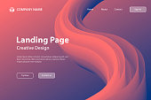 Landing page template for your website with a modern and trendy background. Abstract design with a fluid, liquid, 3d and gradient color shape. This illustration can be used for your design, with space for your text (colors used: Red, Orange, Pink, Purple, Blue). Vector Illustration (EPS10, well layered and grouped), wide format (3:2). Easy to edit, manipulate, resize or colorize.