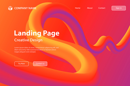 Landing page Template - Fluid Abstract Design on Red gradient background
