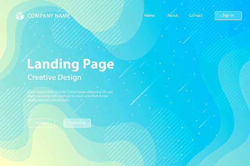 Landing page Template - fluid and geometric shapes composition - Blue Gradient