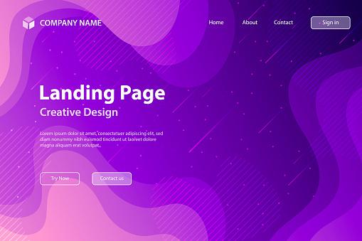 Landing page Template - fluid and geometric shapes composition - Purple Gradient