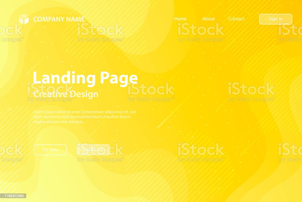 Landing page Template - fluid and geometric shapes composition - Yellow Gradient - Royalty-free Abstract stock vector