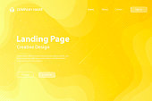 Landing page template for your website with a modern and trendy background. Beautiful starry sky with fluid, geometric and gradient shapes. This illustration can be used for your design, with space for your text (colors used: Yellow, Orange). Vector Illustration (EPS10, well layered and grouped), wide format (3:2). Easy to edit, manipulate, resize or colorize.