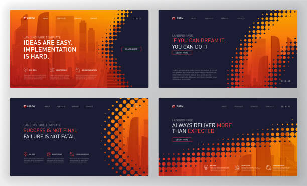 Landing page template for business and construction Landing page template for business and construction. Modern web page design concept layout for website. Vector illustration. Brochure cover, web banner, website slide. website templates stock illustrations
