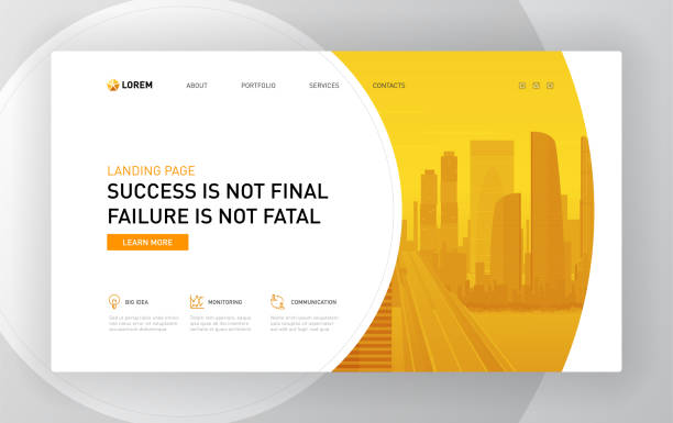 landing page template for business - strona startowa stock illustrations