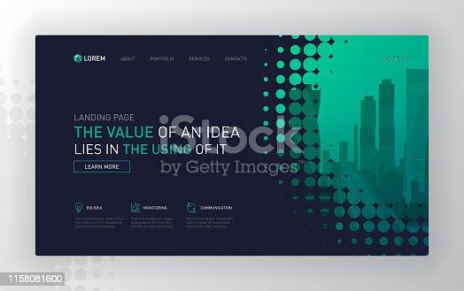 Landing page template for business. Modern web page design concept layout for website. Vector illustration. Brochure cover, web banner, website slide.