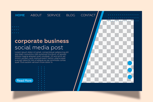 Landing page template for corporate business. Pink background and geometric shapes.