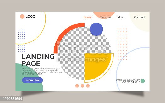 Landing Page template for geometric shapes. Colorful design and cream color background.