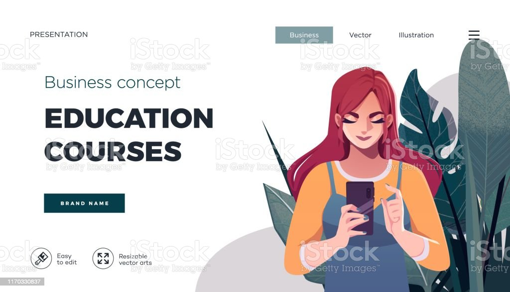 Landing page template for online courses, distance education,...