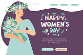 Landing page template for spring design on the theme happy women's day. Web page design for March 8. Beautiful woman with a bouquet of flowers. Flat vector illustrations. Design banner, website, app