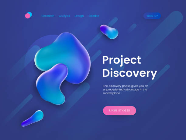 Landing page template for the sites with theme of research, discovery, science and education. vector art illustration