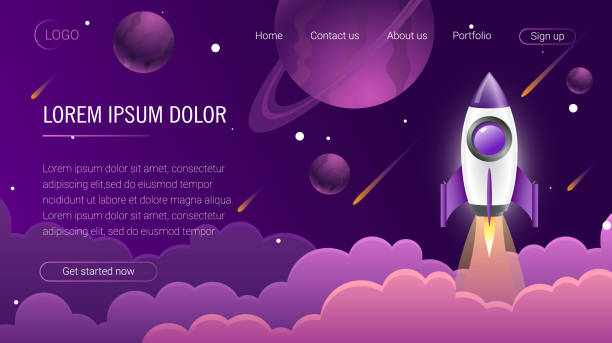 landing page template. header for website. eps10 - abstract of paper spaceship launch to space stock illustrations, clip art, cartoons, & icons