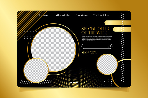 Landing page template - Modern dark and gold colors minimalist luxury background.