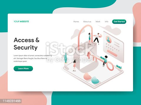 Landing page template of Access and Security Illustration Concept. Isometric design concept of web page design for website and mobile website.Vector illustration
