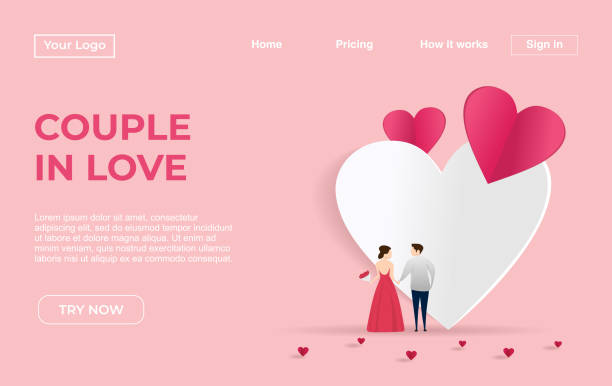 Landing page template of Couple with Dating Apps Illustration Concept. Modern flat design concept of web page design for website and mobile website.Vector illustration Landing page template of Couple with Dating Apps Illustration Concept. Modern flat design concept of web page design for website and mobile website.Vector illustration boyfriend stock illustrations