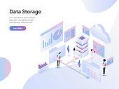 Landing page template of Data Storage Isometric Illustration Concept. Modern Flat design concept of web page design for website and mobile website.Vector illustration