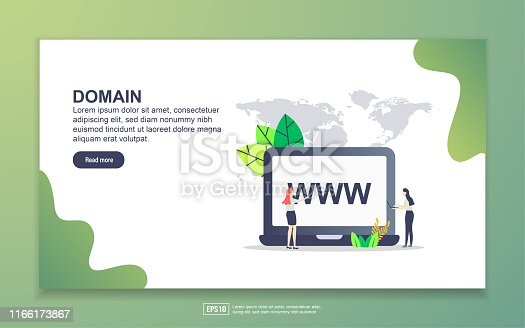 Landing page template of domain. Modern flat design concept of web page design for website and mobile website. Easy to edit and customize
