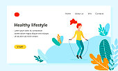 Landing page template of Healthy lifestyle, womens fitness, jumping rope girl characters in the Park. Modern flat design concept of web page design for website. Vector flat style illustration.