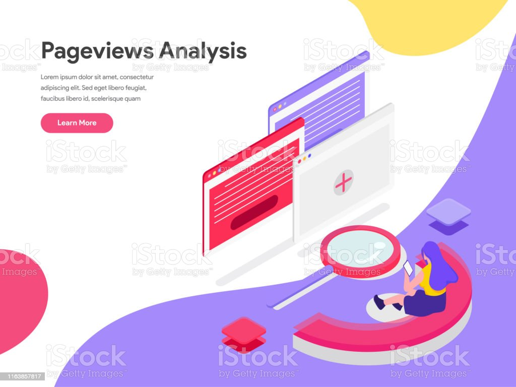 Landing Page Template Of Pageviews Analysis Isometric