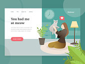 Landing page template of Pet lovers. Modern flat design concept of web page design for pet store website. Illustration of a Woman holding a cat. Young woman with her cat. Vector character