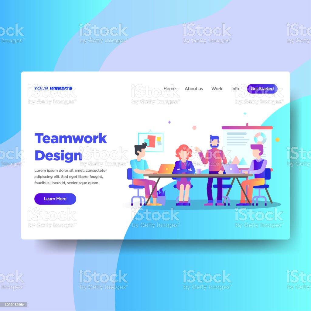 landing page template of teamwork design modern flat design concept
