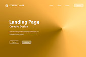 Landing page template for your website. Modern and trendy abstract background with a radial gradient, cone-shaped. This illustration can be used for your design, with space for your text (colors used: Yellow, Beige, orange, Brown, Green). Vector Illustration (EPS10, well layered and grouped), wide format (3:2). Easy to edit, manipulate, resize or colorize.