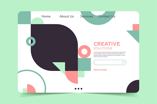 Landing page Template  - Pastel colors banner with simple geometric forms in trendy bauhaus style.