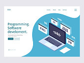 Landing page template programming, coding and software concept.
