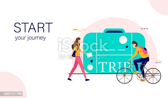 istock Landing page template. Travel and tourism idea. Vector illustration. 1332121756