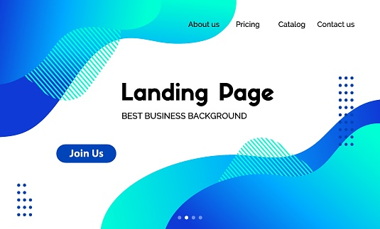 Landing page template. Vector abstract liquid fluid blue trendy background. Corporate business website header