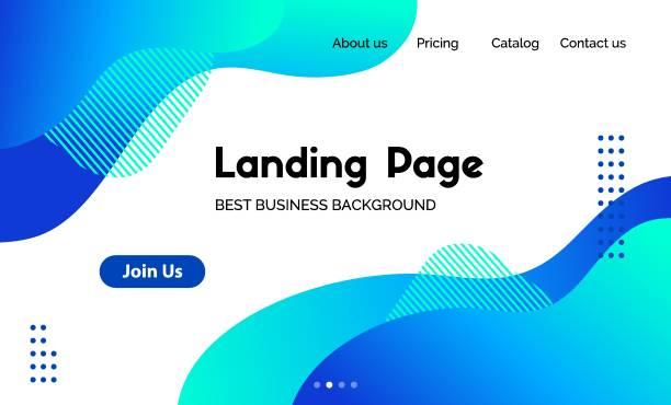 ilustrações de stock, clip art, desenhos animados e ícones de landing page template. vector abstract liquid fluid blue trendy background. corporate business website header - curva forma