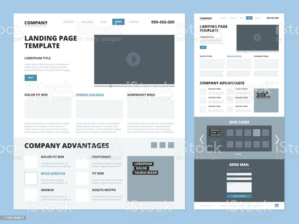 Landing Page Template Website Layout Design Elements Footer