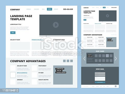 Landing page template. Website layout design elements footer header menu navigation wireframe for internet pages vector ui landing. Wireframe site and navigation page interface menu illustration