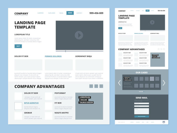 landing page template. website layout design elements footer header menu navigation wireframe for internet pages vector ui landing - architecture borders stock illustrations