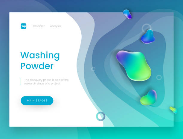 Landing page template with a blue fresh background - Washing Powder, can be used for detergent, soap, shampoo and laundry theme web sites. vector art illustration