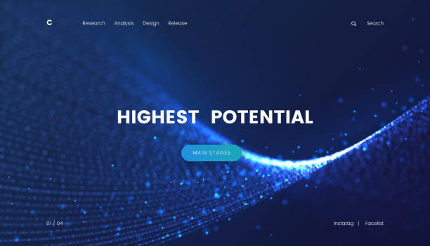 Landing page template with a fantastic blue particles scifi background, can be used for electronics startup, internet technology and futuristic cyberspace theme web sites. Header for website vector art illustration