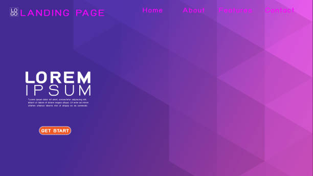 Landing page template with abstract colorful gradient geometric and modern overlapping background. Vector illustration vector art illustration