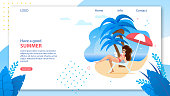 Landing Page Template with Have Good Summer Wish. Online Travel Agency Homepage. Vector Cartoon Woman Resting and Sunbathing on Tropical Beach Illustration. Summer Vacation and Recreation