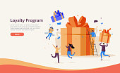 istock Landing page template with levitating internet retail customers and gift boxes. Promotion of online store or shop. 1285780471