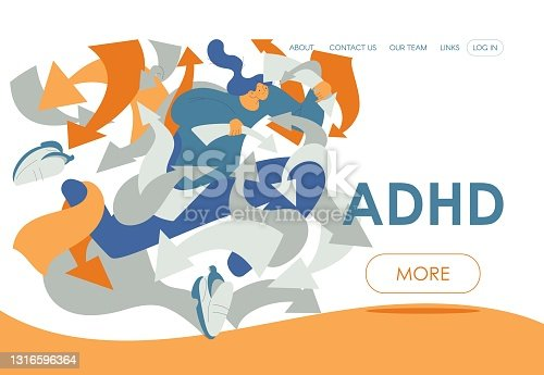 istock ADHD landing page template. Woman in rush disoriented in various arrows and tasks. Concept illustration good for mental health therapy 1316596364