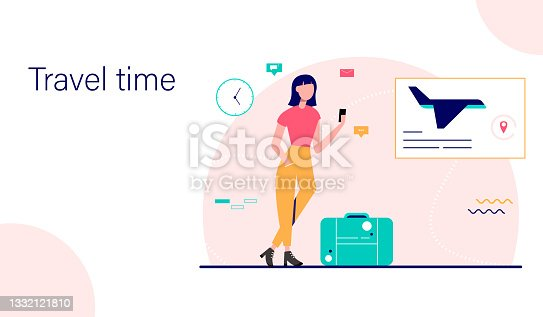 istock Landing page template. Woman traveler waiting for departure. Waiting room interior. Vector illustration. 1332121810