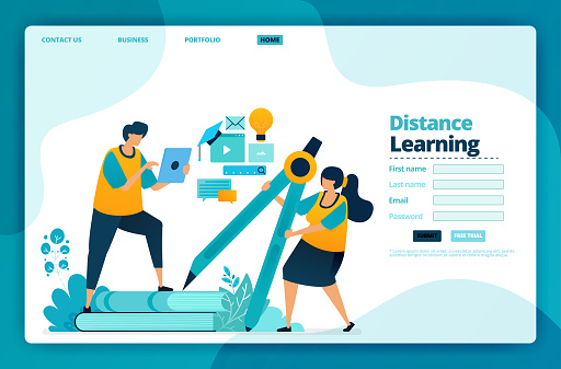 Landing Page Vector Design Of Distance Learning Design For Website Web Banner Mobile Apps Poster Brochure Template Billboard Welcome Page Promotion Cover Business Card Advertisement Stock Illustration Download Image Now Istock