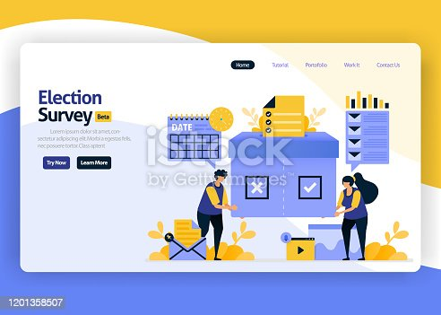 landing page vector flat design illustration of satisfaction surveys for elections and government vote campaigns, online technology selections. for websites, mobile apps, banner, flyer, brochure, ads