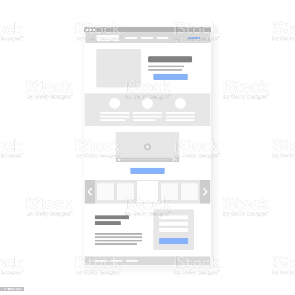 Landing page website wireframe interface template. Vector