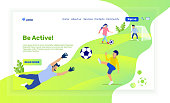 Landing Page with Cartoon Family Playing Soccer