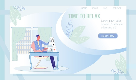 Landing Page with Man and Card-Castle on Table