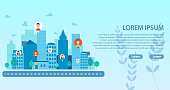 Landing Page with Smart City and People Community. Social Media Network Connecting Man and Woman from Different Buildings. Virtual Communication. Human Avatar. Vector Flat Cartoon Illustration